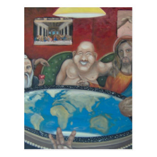 Gods playing poker postcard