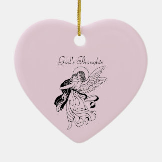 God's Thoughts Poetry Ceramic Heart Decoration