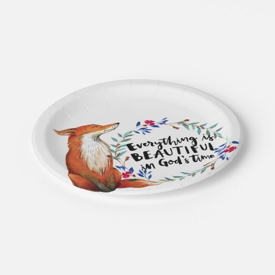 gods time foxes 7 inch paper plate