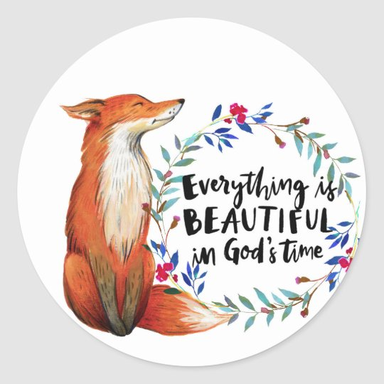 gods time foxes classic round sticker
