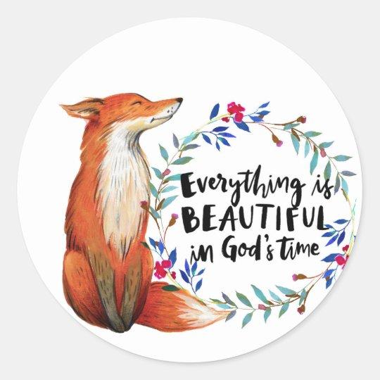 gods time foxes round sticker
