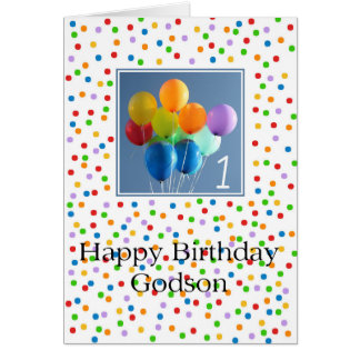 Godson, 1st birthday balloons card