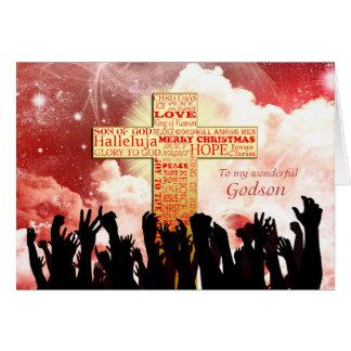 Godson, a Christian cross Christmas Card