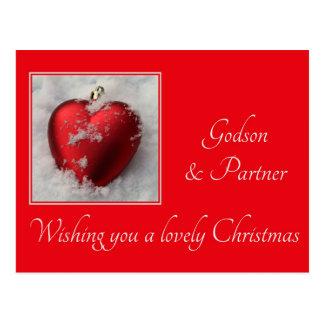 godson and partner  Merry Christmas card Postcards