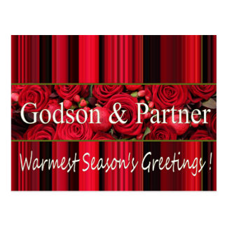 godson and partner  Merry Christmas card Postcard