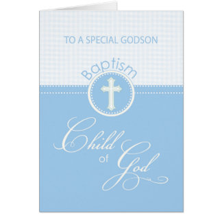 Godson Baptism Congratulations Blue Child of God Greeting Card