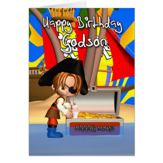 Godson Birthday Card Pirate Treasure