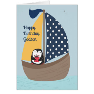 Godson Birthday Card with Penguin Sailing