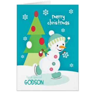 Godson Christmas Snowman Ice Skating Greeting Card