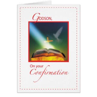 Godson Confirmation Dove, Bible, Cross Card