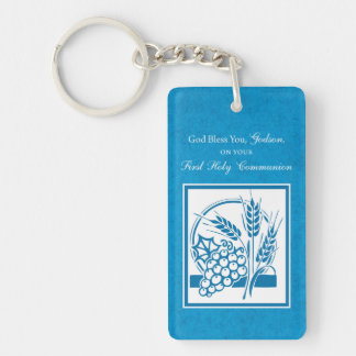 Godson First Communion, Wheat, Grapes Blue Key Ring