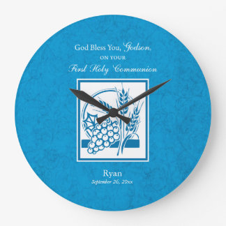 Godson First Communion, Wheat, Grapes Blue Large Clock