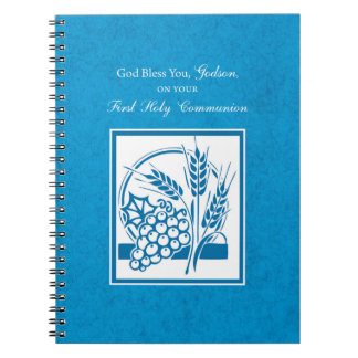 Godson First Communion, Wheat, Grapes Blue Spiral Notebook