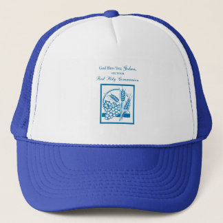 Godson First Communion, Wheat, Grapes Blue Trucker Hat