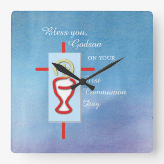 Godson, First Holy Communion, Blue Square Wall Clock