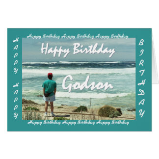 GODSON Happy Birthday - Man and Ocean Waves Greeting Cards