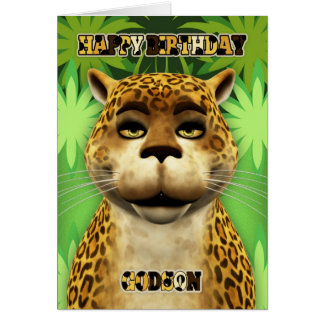 Godson Leopard Jungle Birthday Card
