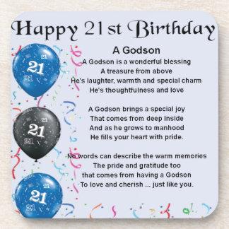 Godson Poem - 21st Birthday Drink Coaster