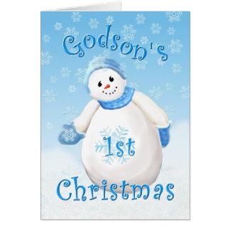 Godson s First Christmas Snowman Greeting Card