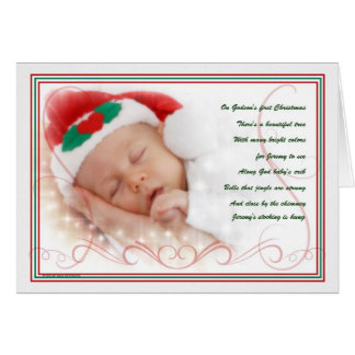 Godson's 1st Christmas Cute Baby Poem with Name Card