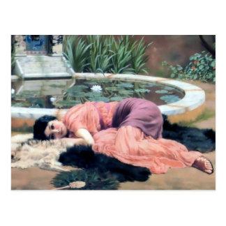 Godward woman by lilly pond dolce far niente postcard