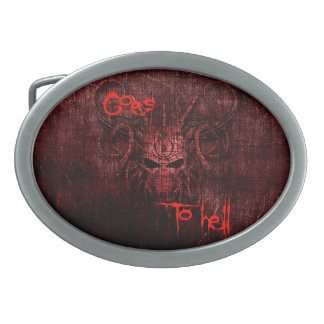 Goes to hell belt buckles
