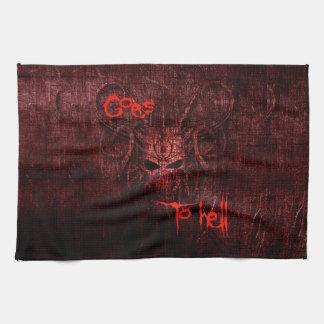 Goes to hell tea towel