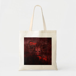 Goes to hell tote bag