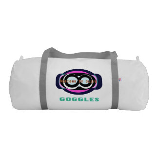 Goggles 2 Duffle Gym Bag, White with Silver straps Gym Duffel Bag