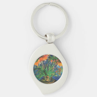 Gogh Fritillaries 1887 Vase Blossoms Personalize Silver-Colored Swirl Key Ring