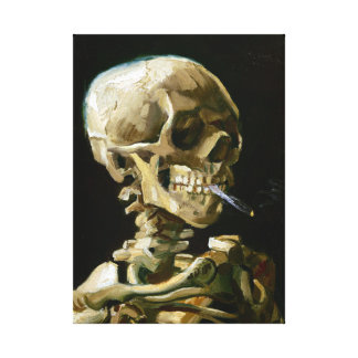 Gogh Head of a Skeleton with a Burning Cigarette Canvas Print
