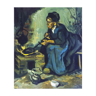 Gogh Peasant Woman Cooking by a Fireplace Canvas Print