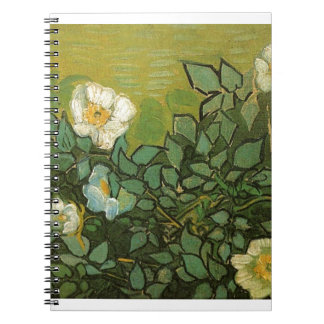 Gogh Wild Roses Blossoms Flowers Vines Vintage Art Spiral Note Book