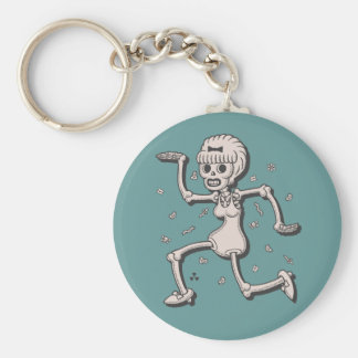 Gogo Skelegirl Basic Round Button Key Ring