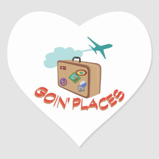 Goin' Places Heart Sticker