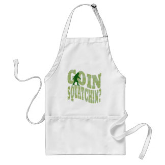 Goin squatchin? text & green camo adult apron