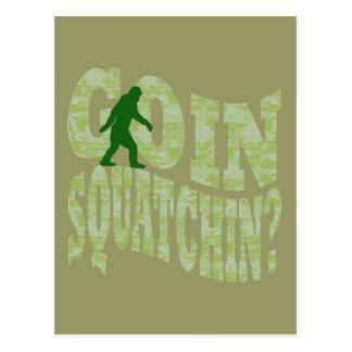 Goin squatchin text green camo postcards
