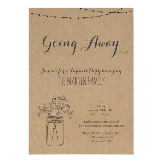 Going Away Party Invitation | Rustic Kraft Paper