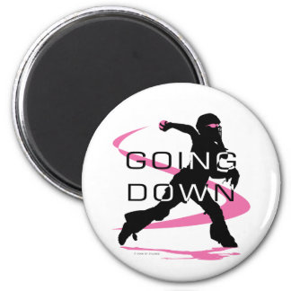Going Down Pink Catcher Softball 6 Cm Round Magnet
