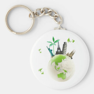 Going for Green! Basic Round Button Key Ring