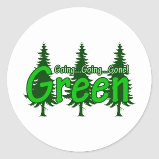 Going Going Gone Green Round Sticker
