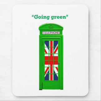 """Going green"" London phone box Mouse Pad"