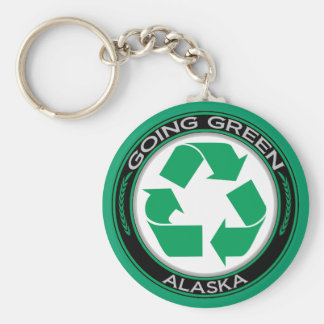 Going Green Recycle Alaska Basic Round Button Key Ring