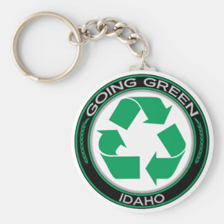 Going Green Recycle Idaho Basic Round Button Key Ring