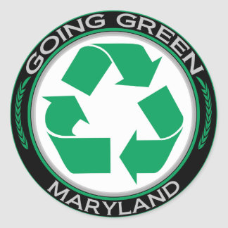 Going Green Recycle Maryland Classic Round Sticker
