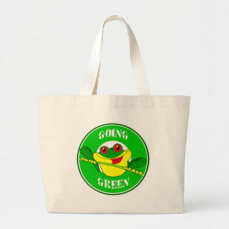 GOING GREEN TREE FROG HAPPY CARTOON CAUSES ENVIRON TOTE BAG