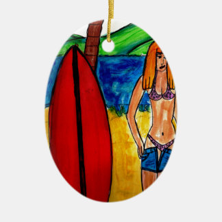 Going Surfing Ceramic Oval Decoration