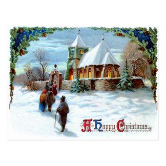 Going To Church Evergreen Christmas Tree Postcard