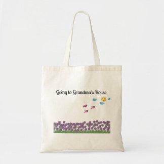 Going to Grandma's House Purple Flowers Tote