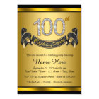 Gold 100th Birthday Party Card